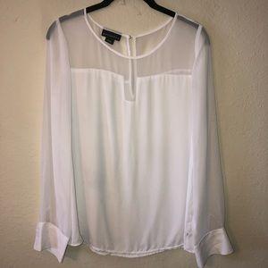 White sheer long sleeve top
